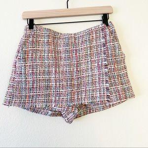 Zara Trafaluc Multicolor Rainbow Tweed Skort NWOT